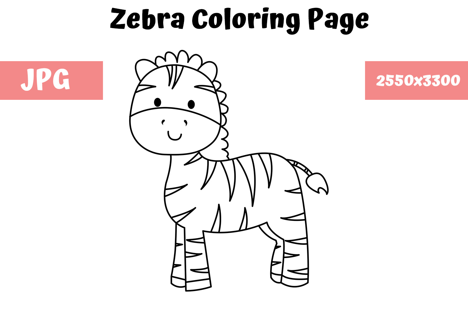 Coloring Page For Kids Zebra Graphic By Mybeautifulfiles Creative Fabrica