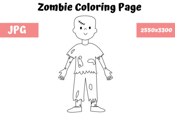 Print on Demand: Coloring Page for Kids - Zombie 02 Graphic Coloring Pages & Books Kids By MyBeautifulFiles