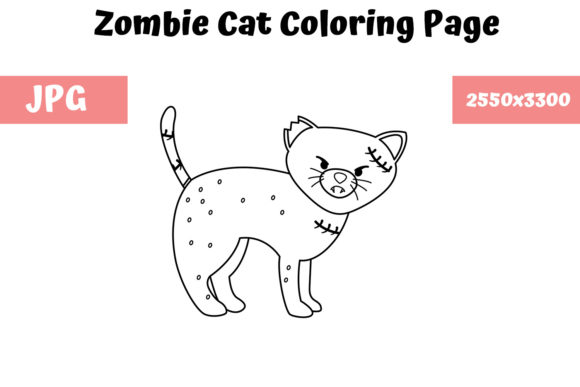 Print on Demand: Coloring Page for Kids - Zombie Cat Graphic Coloring Pages & Books Kids By MyBeautifulFiles