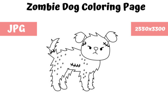 Print on Demand: Coloring Page for Kids - Zombie Dog Graphic Coloring Pages & Books Kids By MyBeautifulFiles