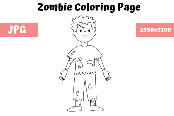 Download Free Coloring Page For Kids Zombie Graphic By Mybeautifulfiles for Cricut Explore, Silhouette and other cutting machines.