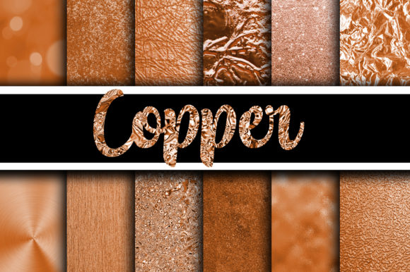 Print on Demand: Copper Digital Paper Textures Graphic Textures By oldmarketdesigns