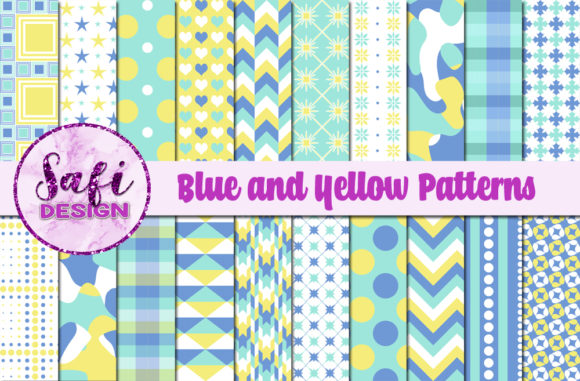 Download Free Digital Papers Blue And Yellow Pattern Graphic By Safi Designs for Cricut Explore, Silhouette and other cutting machines.