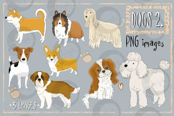 Dogs - Part 2 Graphic Illustrations By Jen Digital Art