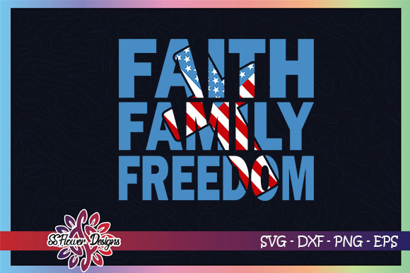 Download Free Faith Family Freedom Cross Graphic By Ssflower Creative Fabrica for Cricut Explore, Silhouette and other cutting machines.