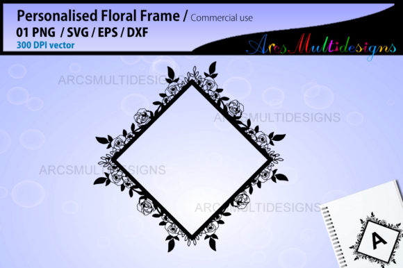Download Free Floral Frames Template Graphic By Arcs Multidesigns Creative for Cricut Explore, Silhouette and other cutting machines.