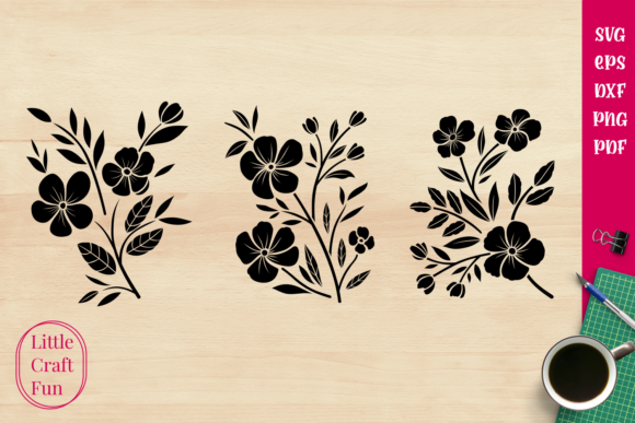 Download Free Flowers Silhouette Graphic By Little Craft Fun Creative Fabrica for Cricut Explore, Silhouette and other cutting machines.