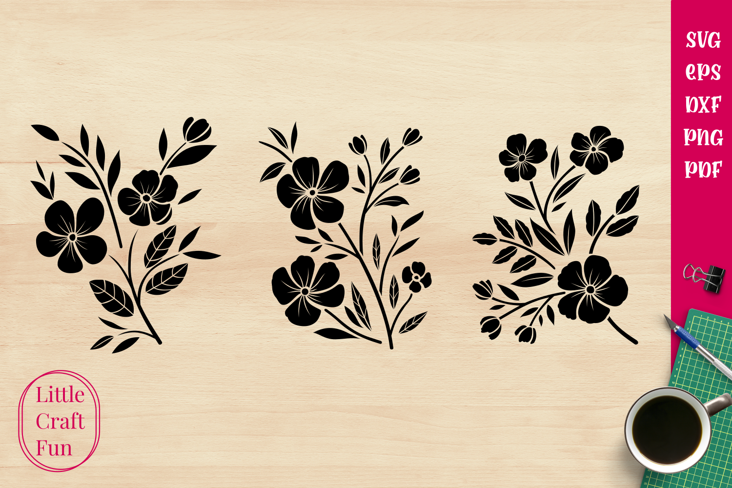 Flowers Silhouette Graphic By Little Craft Fun Creative Fabrica