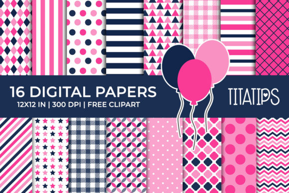 Fuchsia and Blue Navy Digital Papers Set Graphic Backgrounds By TitaTips