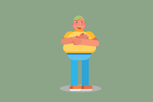 Download Free Funny Character A Fat Boy Graphic By Altumfatih Creative Fabrica for Cricut Explore, Silhouette and other cutting machines.