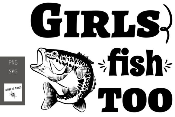 Print on Demand: Girls Fish Too Graphic Print Templates By Fleur de Tango