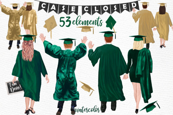 Graduation Clipart,Graduate Students Graphic Illustrations By LeCoqDesign