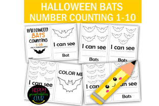 Halloween Bats Counting 1-10 Pre-K Graphic Coloring Pages & Books Kids By Happy Printables Club