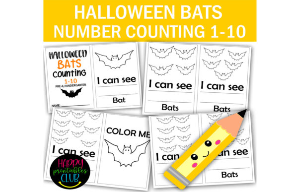 Print on Demand: Halloween Bats Counting 1-10 Pre-K Graphic Coloring Pages & Books Kids By Happy Printables Club