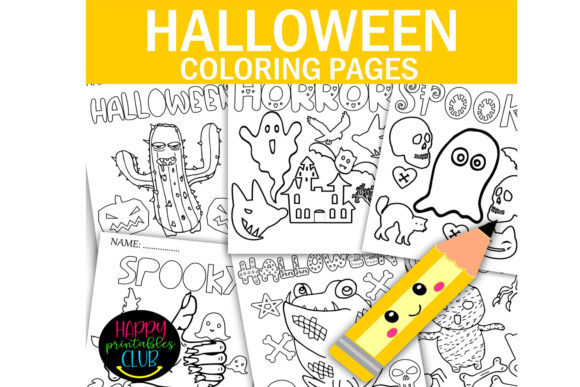 Print on Demand: Halloween Coloring Pages- Halloween Gráfico Libros para colorear - Niños Por Happy Printables Club