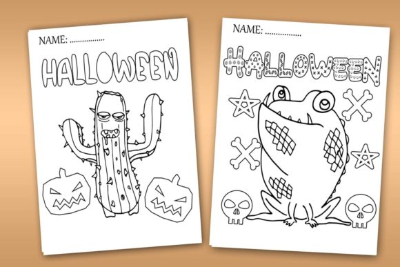 Download Free Halloween Coloring Pages Halloween Graphic By Happy Printables for Cricut Explore, Silhouette and other cutting machines.