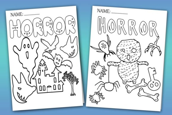 Halloween Coloring Pages- Halloween Graphic Item