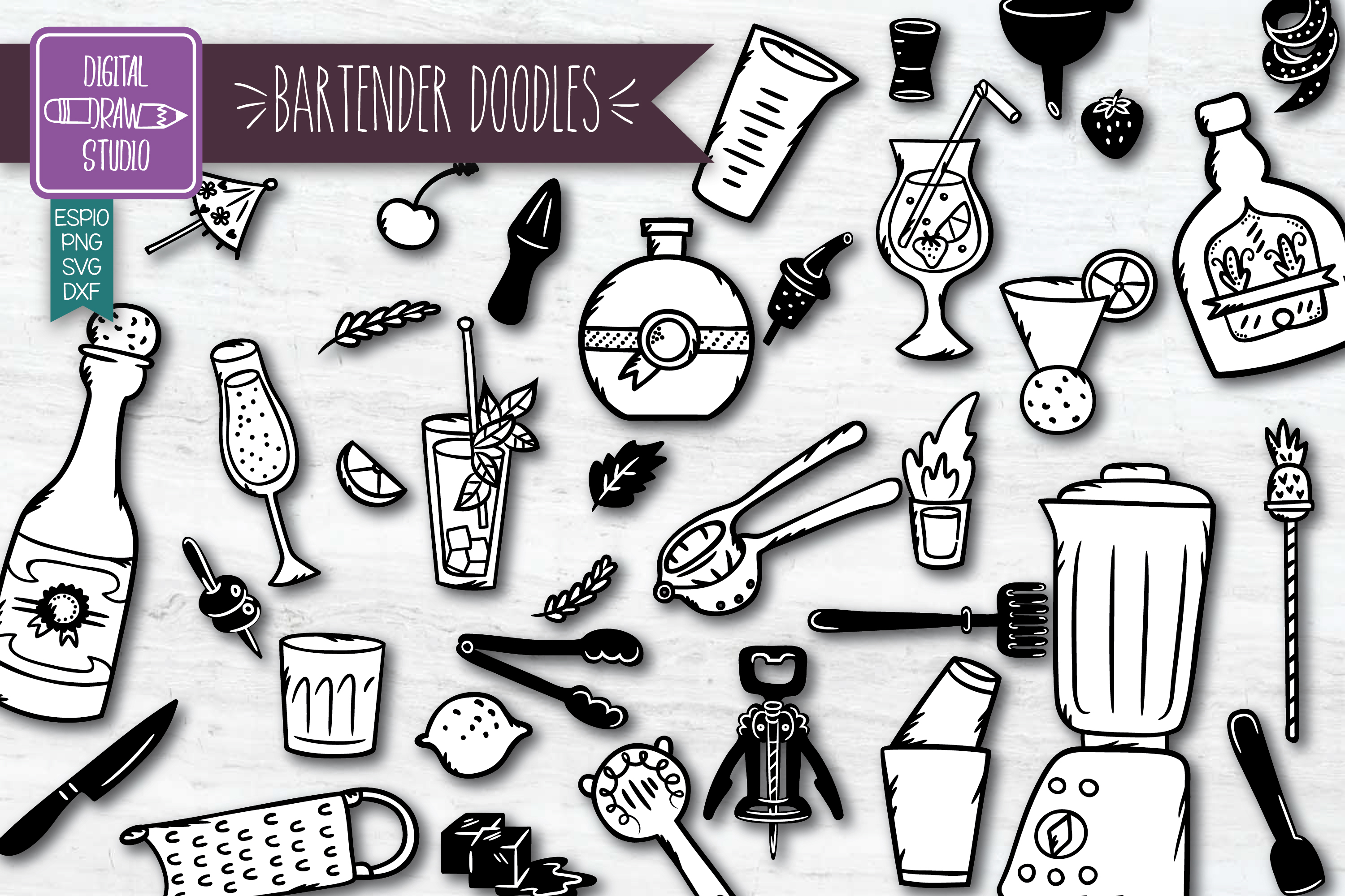 Download Free Hand Drawn Bartender Doodles Graphic By Carmela Giordano for Cricut Explore, Silhouette and other cutting machines.