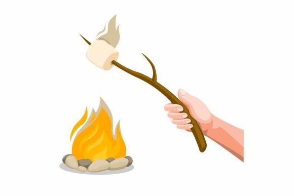 Download Free Hand Holding Marshmallow Roasting Fire Graphic By Aryo Hadi for Cricut Explore, Silhouette and other cutting machines.