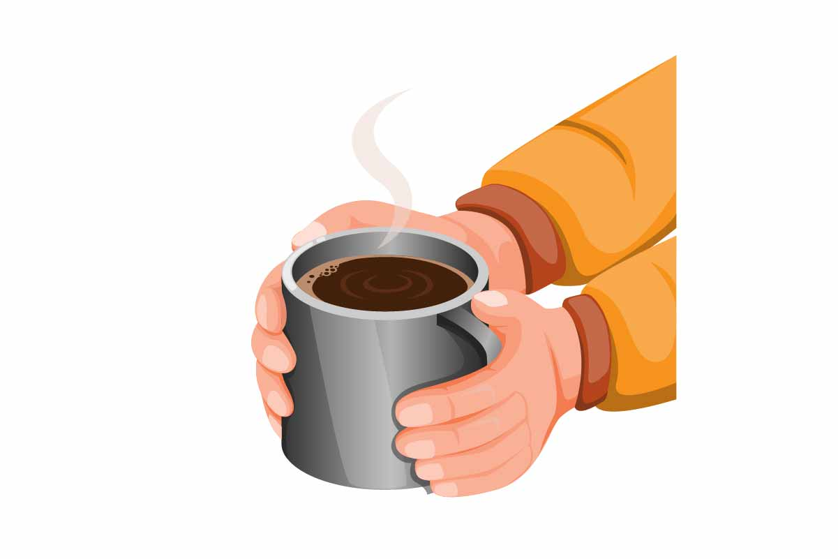 Download Free Hand Holding Hot Chocolate Or Coffee Mug Graphic By Aryo Hadi for Cricut Explore, Silhouette and other cutting machines.