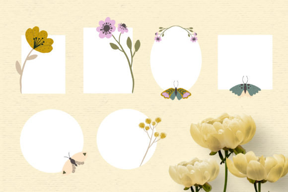 Print on Demand: Hand-drawn Floral Frame Clipart Graphic Illustrations By Wallifyer - Image 2