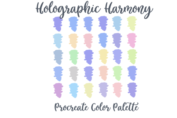 Print on Demand: Holographic Procreate Color Palette Graphic Actions & Presets By AM Digital Designs
