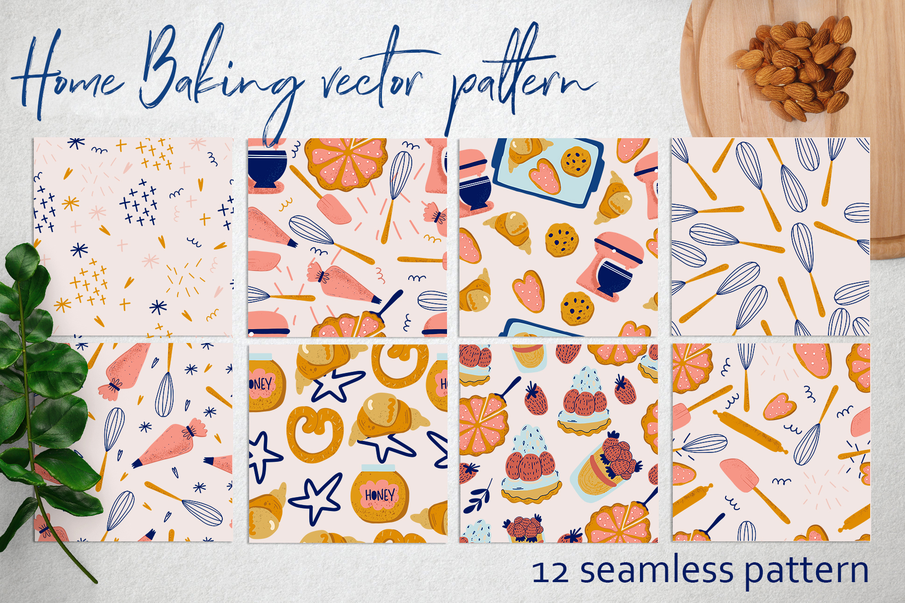 Download Free Home Baking Vector Pattern Graphic By By Anna Sokol Creative for Cricut Explore, Silhouette and other cutting machines.