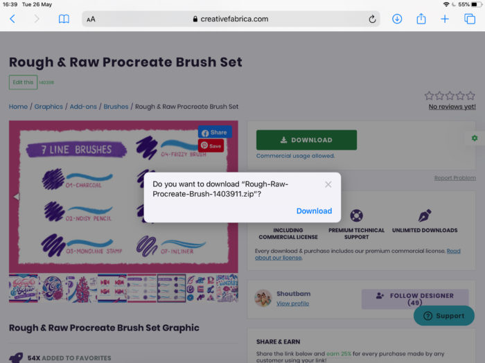 How to install brushes on Procreate