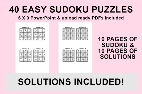 Download Free Kdp Interior 40 Easy Sudoku Puzzles Graphic By Luke Bowes for Cricut Explore, Silhouette and other cutting machines.