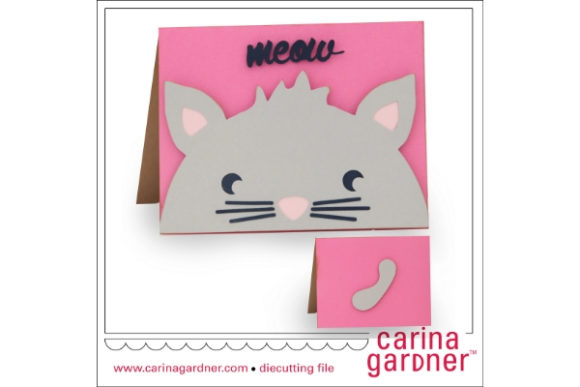 Download Free Kitty Card Graphic By Carina2 Creative Fabrica for Cricut Explore, Silhouette and other cutting machines.