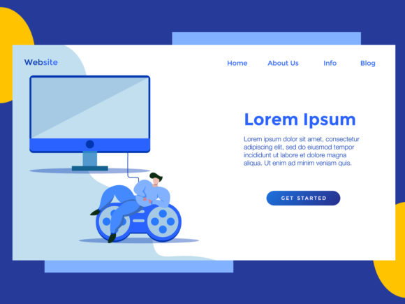 Download Free Landing Page Game Blue Monitor Graphic By Archshape Creative for Cricut Explore, Silhouette and other cutting machines.