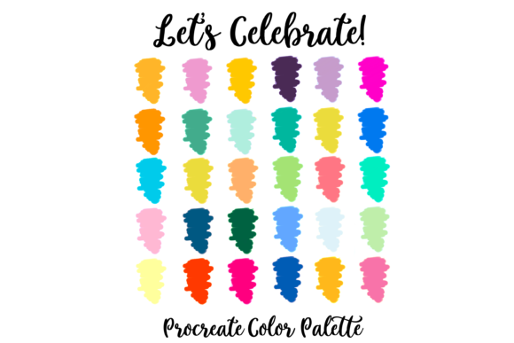 Print on Demand: Let's Celebrate Party Procreate Palette Graphic Actions & Presets By AM Digital Designs