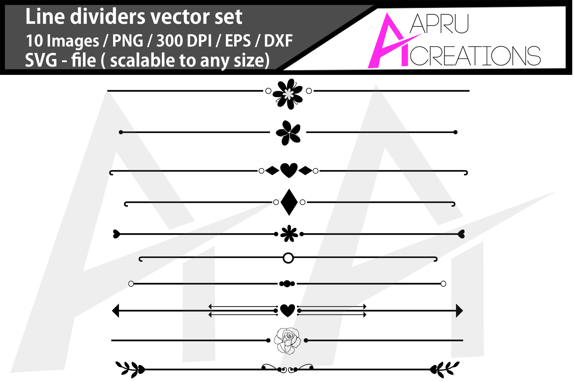 Download Free Line Dividers Line Dividers Silhouette Graphic By Aparnastjp for Cricut Explore, Silhouette and other cutting machines.