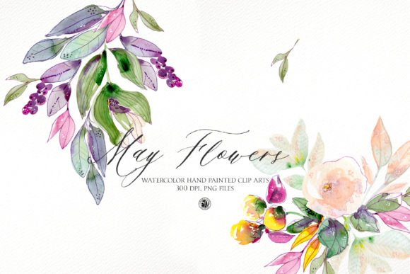 Print on Demand: May Flowers - Watercolor Floral Set Graphic Illustrations By webvilla
