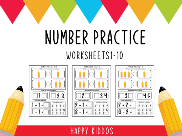 Number Practice: Worksheets 1-10 Graphic K By Happy Kiddos