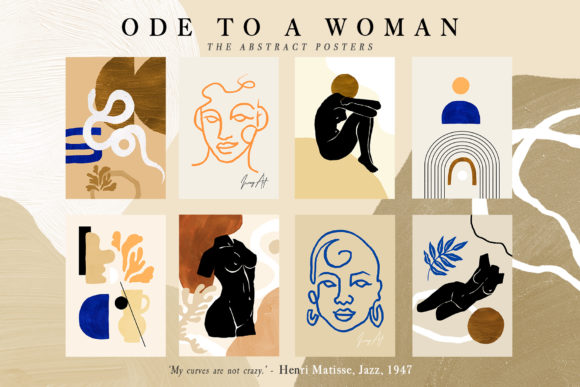 Ode to a Woman Postcard Set Graphic Illustrations By NassyArt