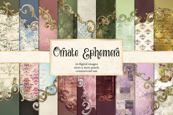 Print on Demand: Ornate Ephemera Digital Paper Gráfico Texturas Por Digital Curio