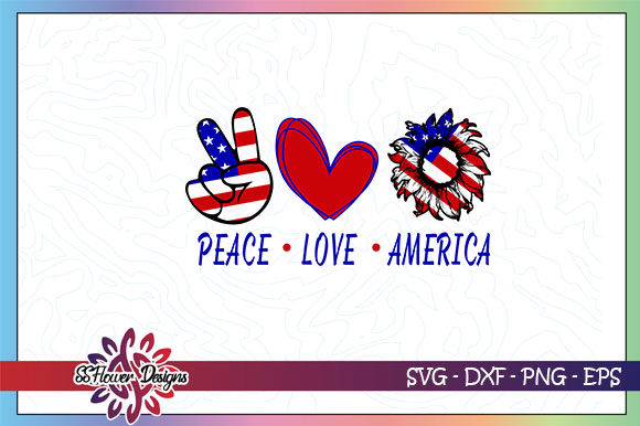 Peace Love America Sunflower Graphic Crafts By ssflower