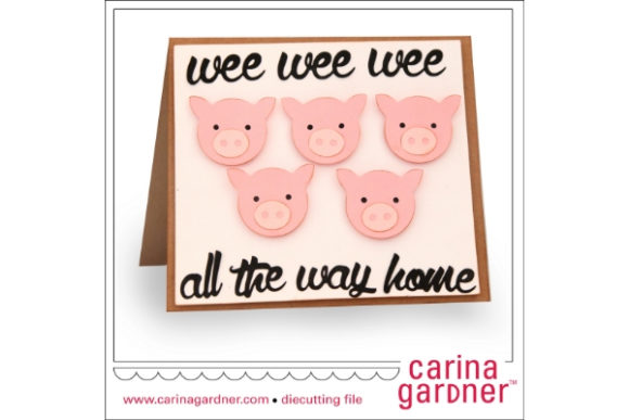 Piggy Card Graphic 3D SVG By carina2 - Image 1