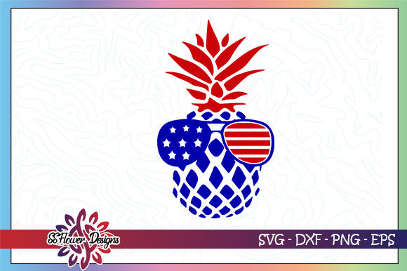 Download Free Pineapple Sunglasses America Flag Graphic By Ssflower Creative for Cricut Explore, Silhouette and other cutting machines.