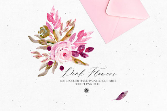 Pink Flowers 2020 - Watercolor Set Graphic Illustrations By webvilla