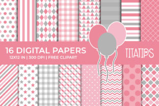 Pink and Gray Digital Paper Set Graphic Backgrounds By TitaTips