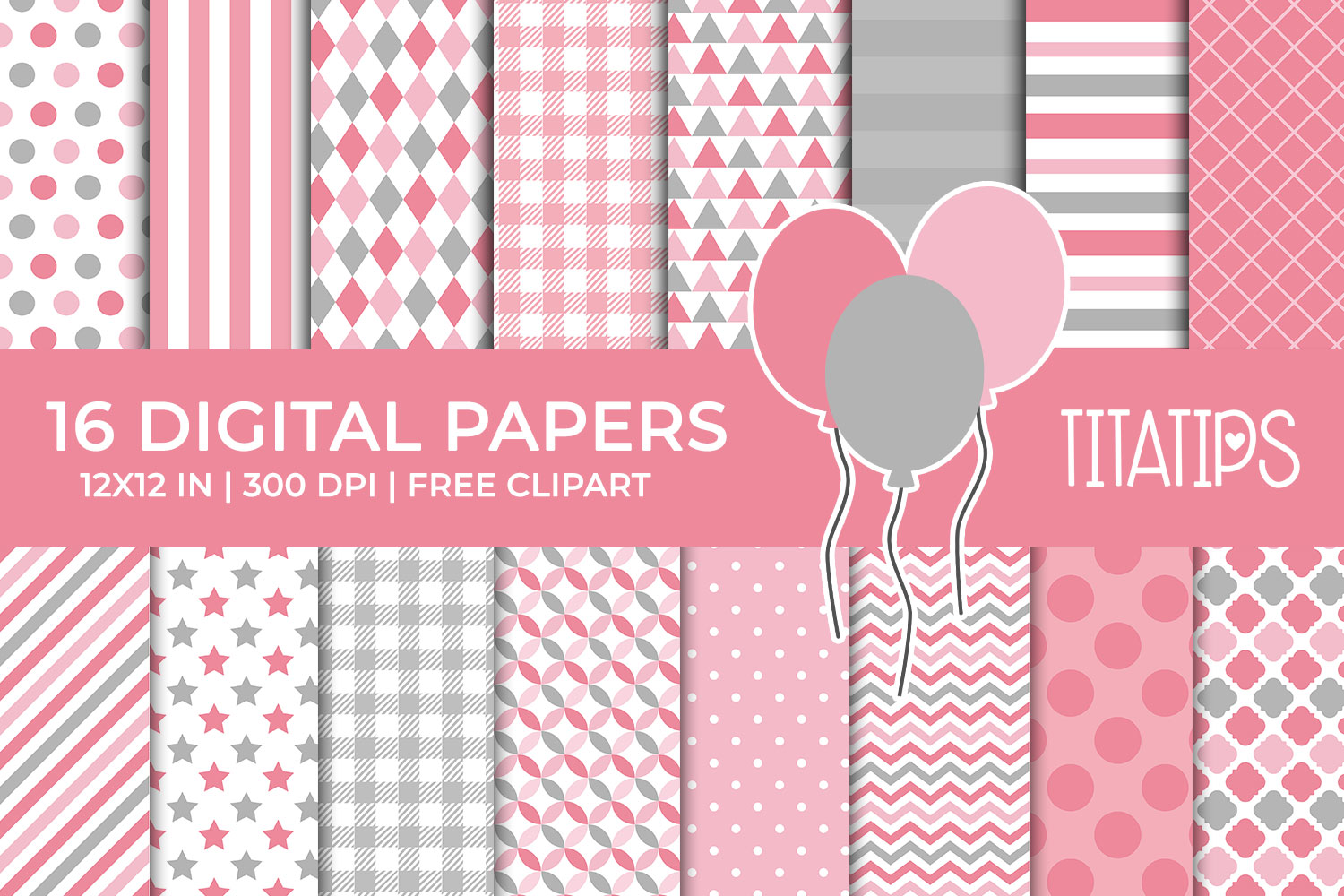 Download Free Pink And Gray Digital Paper Set Graphic By Titatips Creative for Cricut Explore, Silhouette and other cutting machines.