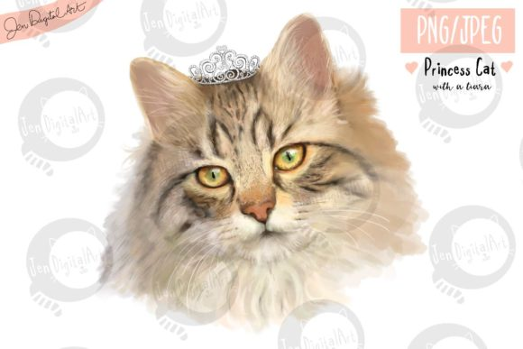 Princess Cat with a Tiara Graphic Illustrations By Jen Digital Art