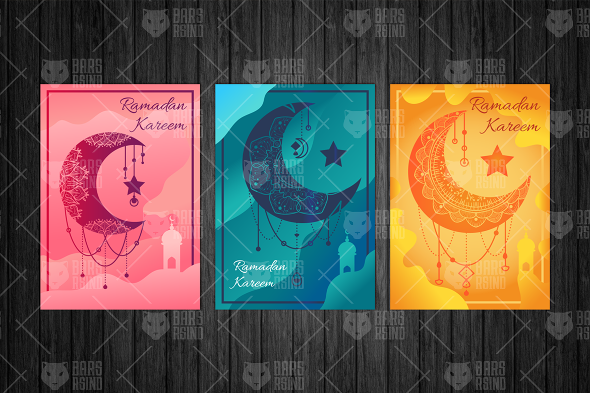 Download Free Ramadan Kareem Moon Illustrations Set Graphic By Barsrsind for Cricut Explore, Silhouette and other cutting machines.