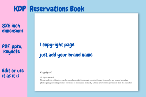 Download Free Reservations Book For Kdp Graphic By Income Plum Creative Fabrica for Cricut Explore, Silhouette and other cutting machines.