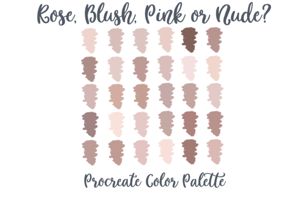 Rose Nude Pink Blush Procreate Palette Gráfico Acciones y Pre-ajustes Por AM Digital Designs