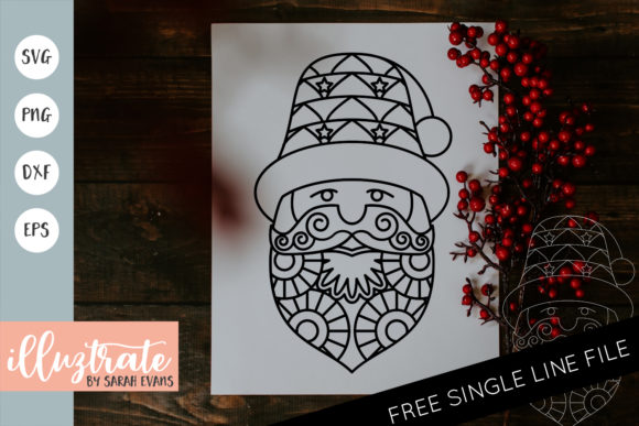 Print on Demand: Santa Mandala Cut File Graphic Crafts By illuztrate