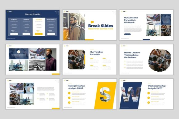 Download Free Start Up Google Slides Template Graphic By Pradiptacreative Creative Fabrica for Cricut Explore, Silhouette and other cutting machines.