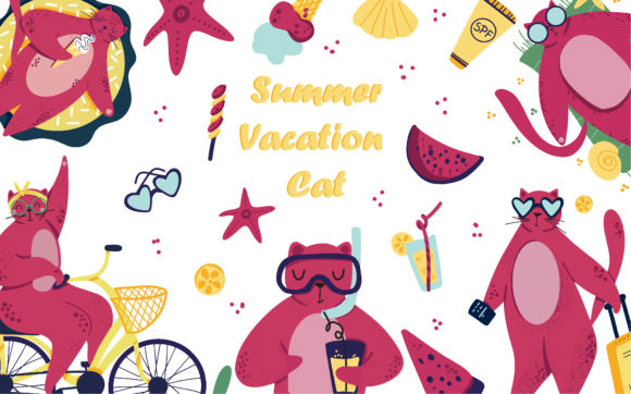 Download Free Summer Vacation Cat Graphic By Zolotovaillustrator Creative for Cricut Explore, Silhouette and other cutting machines.
